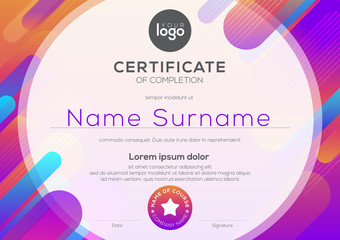 modern certificate of completion template with vibrant bold color abstract graphic background