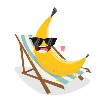 funny cartoon banana relaxing on sunbed
