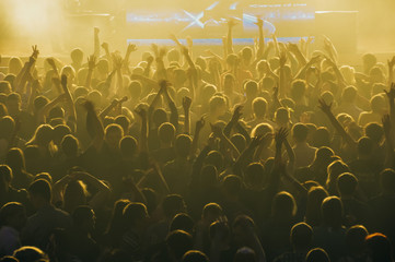large crowd of people at a stadium concert in the dark