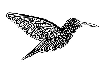 Black and white art with decorative hummingbird