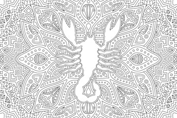 Black and white coloring book page with scorpion