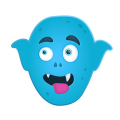 Funny cartoon art with blue smiling monster head