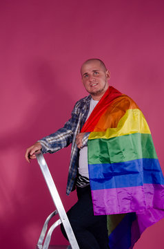 Male gay with lgbt flag.