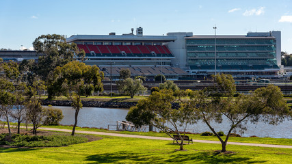 The Flemington Racecourse grandstands in front of the Maribynong River in Melbourne, Australia