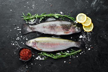 Raw fish trout with vegetables on a black stone background. Top view. Free space for your text.