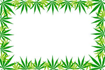 Frame of hemp leaves. Flat illustration, mock up, copy space.