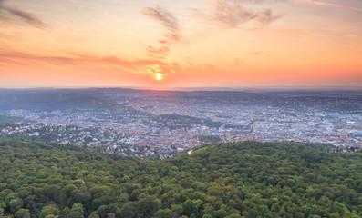 Sonnenuntergang über Stuttgart vom Stuttgarter Fernsehturm