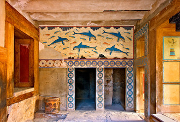 Foto auf Leinwand Delphin The Dolphins fresco from the Queen's Megaron at the Minoan palace of Knossos, Heraklion, Crete, Greece.