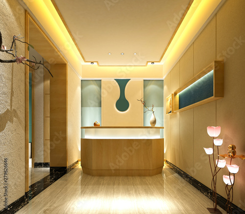 3d render hotel receğtion and lobby