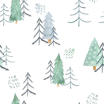 Seamless pattern with green Christmas Trees
