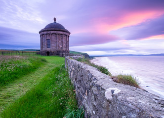 Mussenden Temple in Northern Ireland at sunset