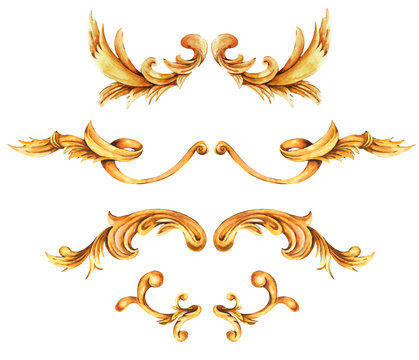 Watercolor set of golden baroque, rococo ornament elements. Hand drawn gold scrolls, leaves