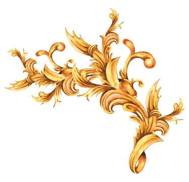 Watercolor golden baroque floral curl, rococo ornament element. Hand drawn gold scroll,