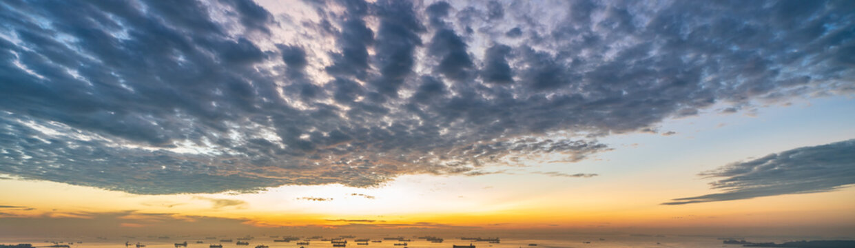 Wide panorama of Cirrocumulus clouds in the morning