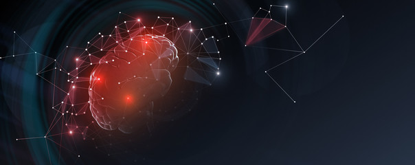 Human brain with network connections, free space Wall mural