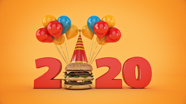 Hamburgers with party hat concept 2020 New Year sign. 3d rendering