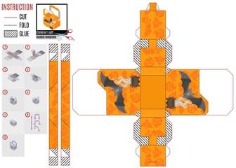 Orange box template on Halloween with a gray bat