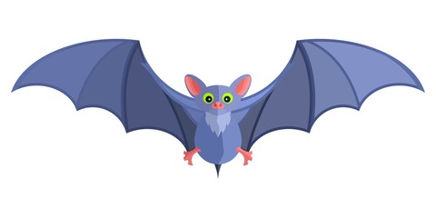 blue cartoon bat bright flat mystical fairy. Stock image picture