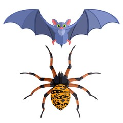 bat and big spider on a white background on halloween. Stock