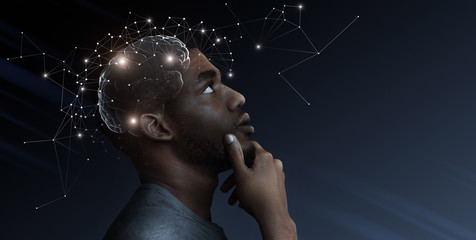 Ideas escape from brain of pensive african man Fototapete