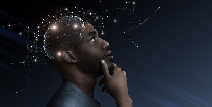 Ideas escape from brain of pensive african man