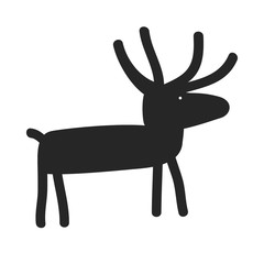 Deer Silhouette Cartoon Vector. Funny and simple Christmas Stug or Moose icon. Wildlife Animal with Antlers in Primitive Ancient Style
