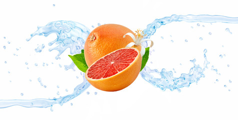 Fresh cold pure grapefruit flavored water wave splash isolated on white. Fruit infused vitamin water or liquid fluid 3D wave splash with grapefruit design elements. Healthy flavored soft drink splash Wall mural