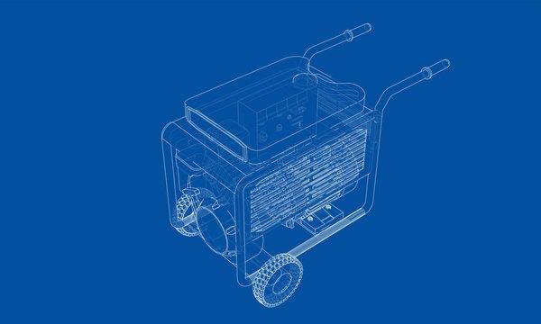 Outline portable gasoline generator vector