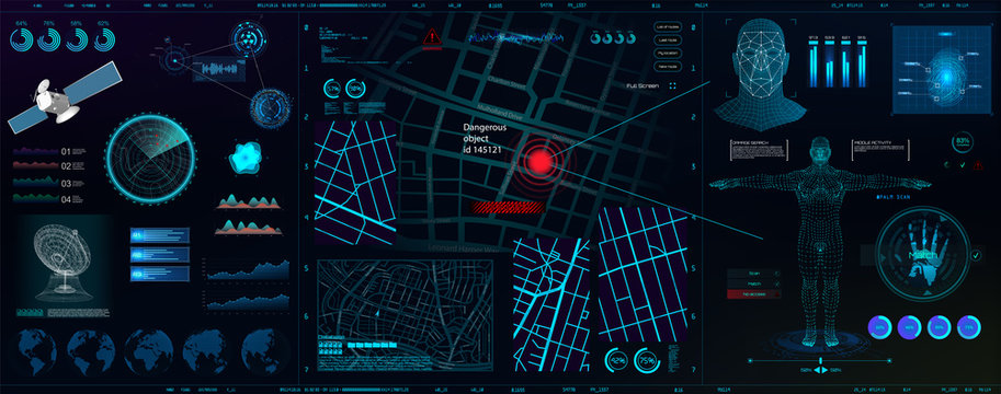 High-tech dashboard for people search. Search, recognition, detection. Biometric smart recognition system (persons, body, fingerprints, palm) Spyware app for tracking. HUD, GUI, UI vector elements