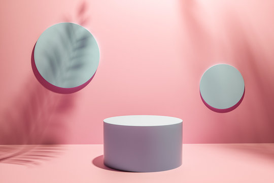 Creative layout made of Cosmetic pastel pink background for product presentation