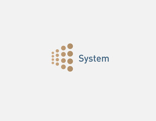 Abstract golden geometric logo circles of different sizes for technology company education system