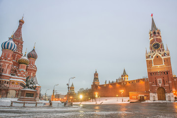 Fotobehang Moskou Moscow, Russia, Red square, view of St. Basil's Cathedral