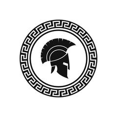 Vector illustration of spartan helmet and shield.