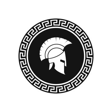 Spartan helmet with shield illustration. Vector.