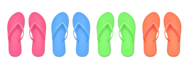 Realistic 3d flip flop set, colored summer slippers. Design template of summer beach. Empty mockup. Vector illustration isolated on white background