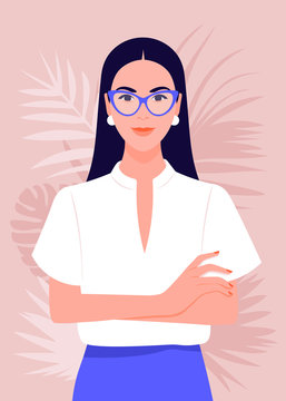 Portrait of a successful girl with arms crossed. Business woman smiling. Vector flat illustration