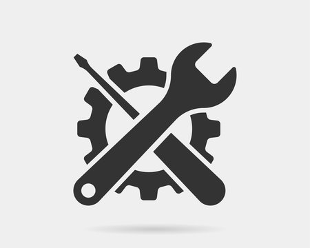 Tools vector wrench icon. Spanner logo design element. Key tool isolated on white background.