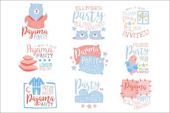 Pink And Blue Girly Pajama Party Invitation Templates Set Inviting Kids For The Slumber Pyjama Overnight Sleepover Cards