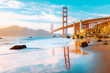 Golden Gate Bridge at sunset, San Francisco, California, USA Fototapete