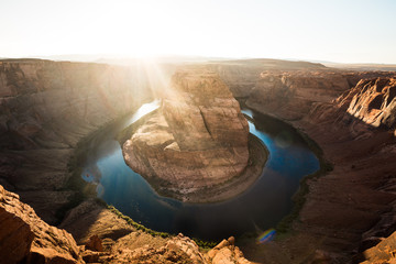 Wall Mural - Wide-angle view of Horseshoe Bend at sunset, Arizona, American Southwest, USA