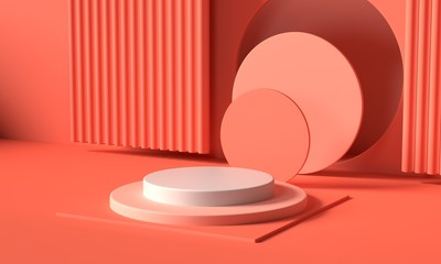 Render image of abstract pink color geometric shape background, modern minimalist mockup for podium display or showcase
