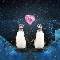 Penguins in the Arctic under the snow snowfall to hold each other's hands, in the sky the planet's heart, illustration.