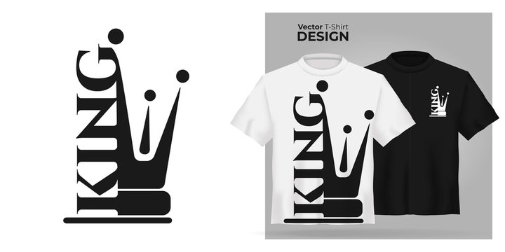 Vector male t-shirt mock up set with flat icon king with  prince crown silhouette. 3d realistic shirt template. Black and white boy tee mockup, front view design, man royal pattern