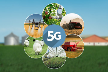 Etiqueta Engomada - 5G network for control smart farm. Smart agriculture 4.0.