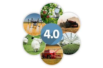 Etiqueta Engomada - Smart farming and digital agriculture 4.0 concept