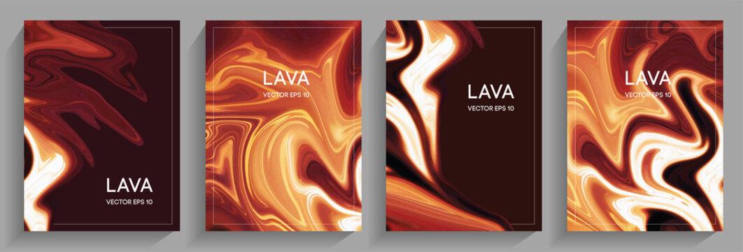 A set of brochures flowing lava