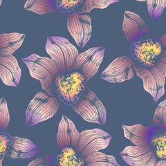 Vector seamless pattern wonderful colorful orchid hand-drawn in graphic and real-style at the same time. Delicate colors: pink, purple, yellow, beige. Looks vintage, beautiful, decoration for holidays