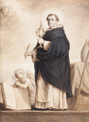 Valenciennes, France. 2017/9/14. The painting of Saint Thomas Aquinas by Abraham Van Diepenbeek (1596-1675). Currently displayed in the Museum of fine arts in Valenciennes.