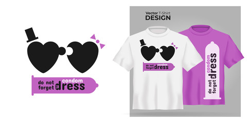 Unisex t-shirt mock up set with type Do not forget to dress condom. 3d realistic shirt template with motivation poster with puzzle man and woman have sex. Pink and white tee mockup, front view design