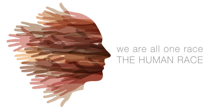 We are all one race.  The Human race.  A face made with hands